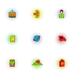 Shipment icons set pop-art style vector