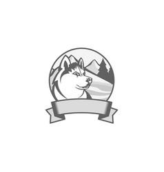 Silhouette emblem of siberian husky vector
