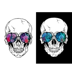 Skull of human with sunglasses vector