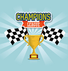 sport trophy cup champions with flags vector image