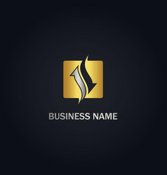 Square arrow consulting gold logo vector