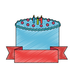 Sweet and delicious cake with candles and ribbon vector
