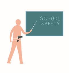 Teacher near blackboard with a gun vector