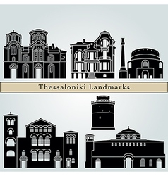 Thessaloniki landmarks and monuments vector image