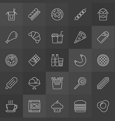 Unhealthy junk food outline icons set fast vector