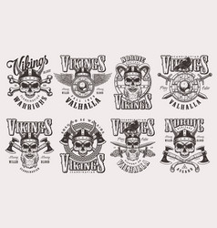 vintage monochrome viking labels set vector image
