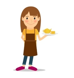 Waitress with tea pot and cup vector image