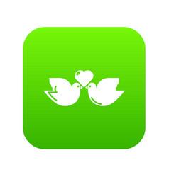 wedding doves heart icon green vector image