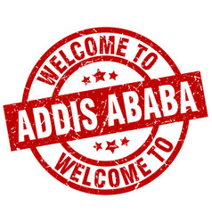 Welcome to addis ababa red stamp vector
