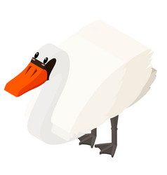 White goose in 3d design vector