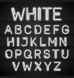 white neon light alphabet with cable vector image