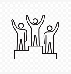 Winners business people pedestal line icon vector