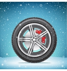 winter tire on snowy background vector image