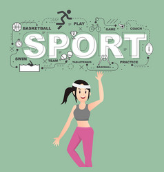 Woman athlete with sport icons on green background vector
