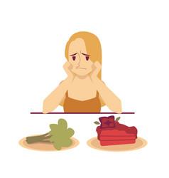 woman choosing between dessert and diet food flat vector image
