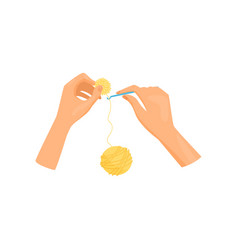 Woman hands knits with crochet ball of bright vector