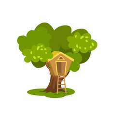 Wooden tree house hut on green tree for kids vector