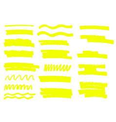 Yellow highlighter brush lines hand drawing vector