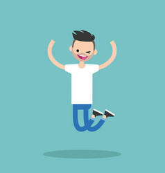 Young winking jumping bearded guy flat editable vector