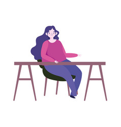 young woman sitting on chair with desk furniture vector image