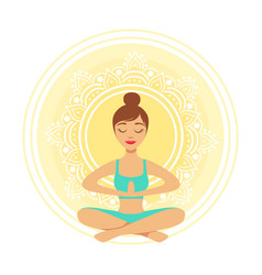 Young yoga woman meditating in lotus position vector