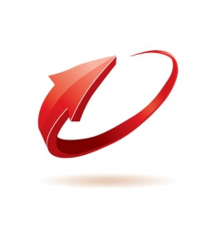 3d red glossy arrow vector image
