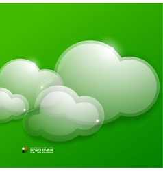 Glass 3d clouds template vector image