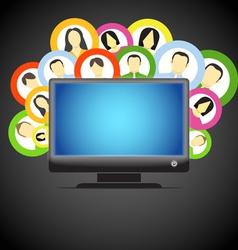 monitor and social media members icons vector image vector image