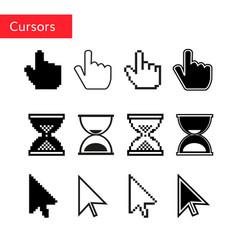 mouse cursors set pixel cursors vector image vector image