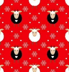 Red seamless pattern with cute goat and snowflakes vector image vector image
