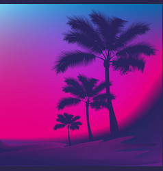 sea the silhouettes of the palm trees vector image