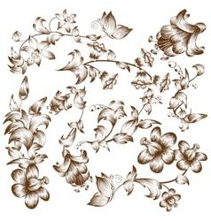 Vintage design flower elements vector image vector image