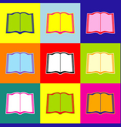 book sign pop-art style colorful icons vector image vector image