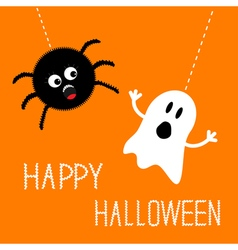 Hanging spider and ghost Happy Halloween card Flat vector image