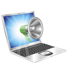 megaphone icon laptop concept vector image vector image