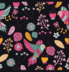seamless pattern bird pink floral wallpaper decora vector image vector image