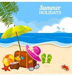 Summer seaside view on the beach poster vector image vector image