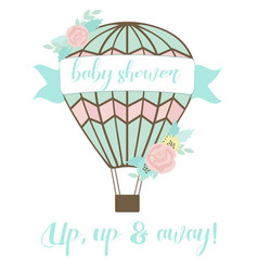 welcoming baby card with air balloon and flowers vector image