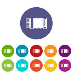 Accordion set icons vector