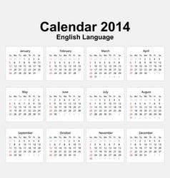 Calendar 2014 English Type 11 vector image
