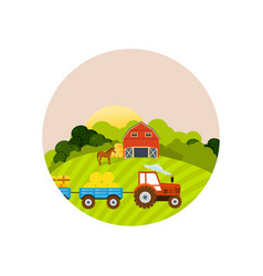 farm and farmland village with gardens greenery vector image vector image