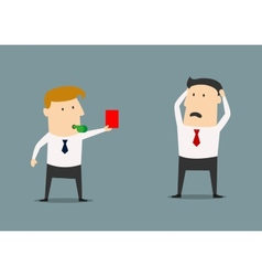 Manager showing a red card vector image vector image