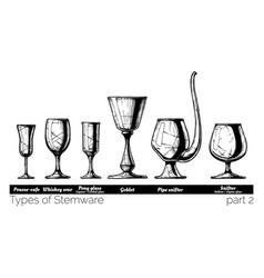 Stemware types vector