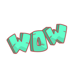 word wow written in cartoon style colorful vector image