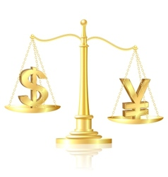 Yen outweighs Dollar on scales vector image vector image