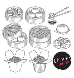 chinese cuisine food doodle elements hand drawn vector image vector image