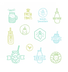 Doodle smoothie badges vector