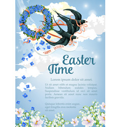 easter swallow poster for paschal greeting vector image vector image