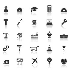 engineering icons with reflect on white background vector image