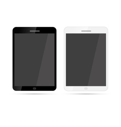Glossy realistic tablets with shadow on white vector image vector image